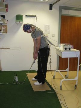 A participant in our putting study